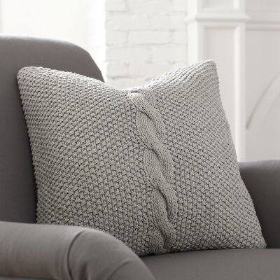 Peyton Pillow Cover Color: Pewter, Size: 18 H x 18 W x 1 D