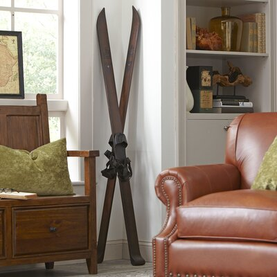 Teak Cross-Country Ski Decor