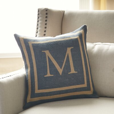 Naya Monogrammed Burlap Pillow Cover Color: Blue & Natural