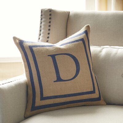 Naya Monogrammed Burlap Pillow Cover Color: Natural & Blue
