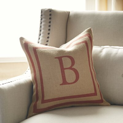 Naya Monogrammed Burlap Pillow Cover Color: Natural & Red