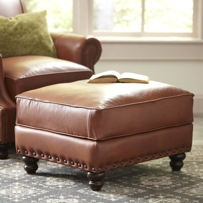 Landry Leather Ottoman Upholstery: Steamboat Charcoal