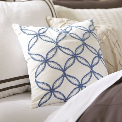 Edith Embroidered Pillow Cover Color: Blue