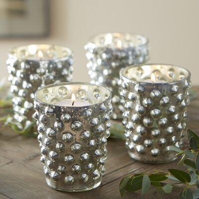 Silver Hobnail Votive Holders