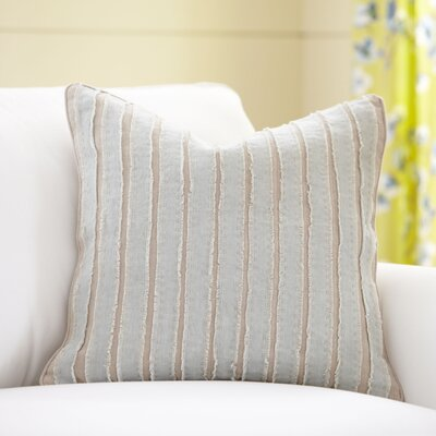 Blanche Linen Pillow Cover Size: 18 x 18, Color: Sky & Natural
