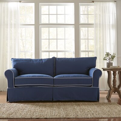 Jameson Sleeper Sofa with Contrast Welt Upholstery: Spinnsol Navy with Classic Bleach White