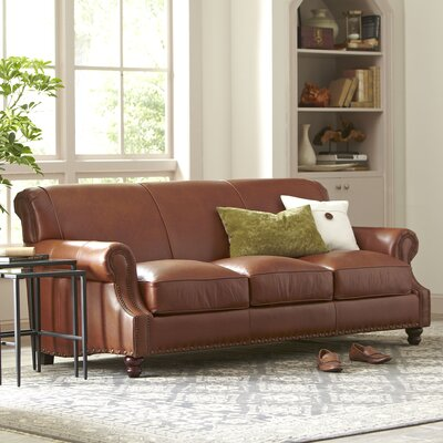 Landry Leather Sofa Leather: Vintage Ash, Nailhead Detail: Yes
