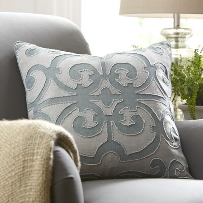 Estelle Linen Pillow Cover Size: 18 x 18, Color: Teal/light Gray