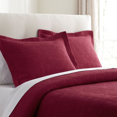 Jolie Matelasse Sham Color: Red, Size: Euro