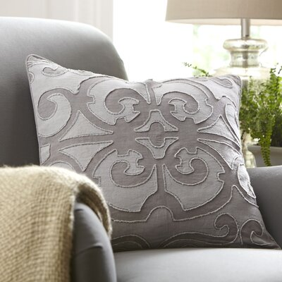 Estelle Linen Pillow Cover Color: Medium Gray/Lavender, Size: 18 x 18