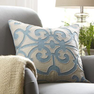 Estelle Linen Pillow Cover Size: 18 x 18, Color: Sky Blue/Light Gray