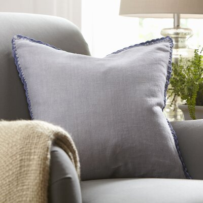 Armelle Linen Pillow Cover Color: Blue, Size: 18 x 18