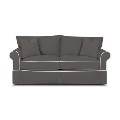 Jameson Sofa with Contrast Welt Upholstery: Griffin Shadow Twill with Pure White Welt