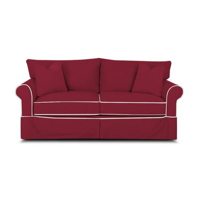 Jameson Sleeper Sofa with Contrast Welt Upholstery: Spinnsol Iron with Classic Bleach White