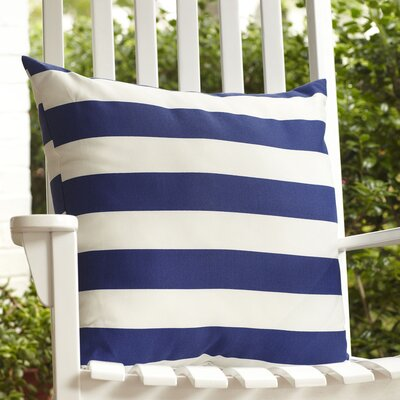 Dion Striped Outdoor Pillow Color: Navy
