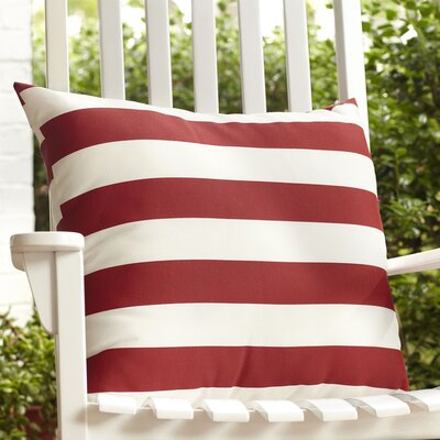 Dion Striped Outdoor Pillow Color: Red