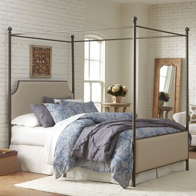 Williston Canopy Bed Size: Queen, Color: Oil Rubbed Bronze/Parchment Fabric