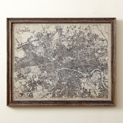 Sepia London Map Framed Print
