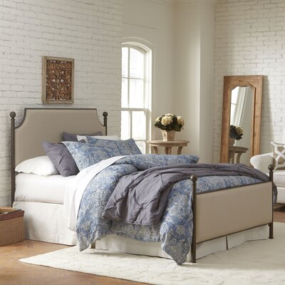 Williston Bed Size: King, Color: Oil Rubbed Bronze/Parchment Fabric