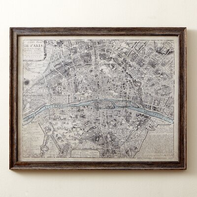 Sepia Paris Map Framed Print