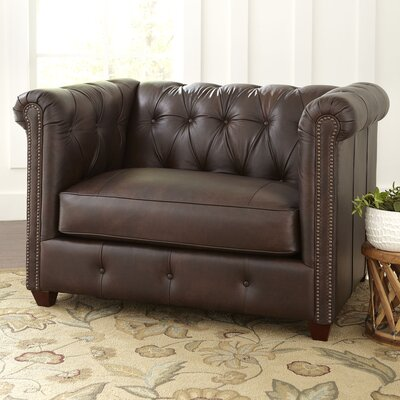 Hawthorn Leather Chair Upholstery: Steamboat Charcoal, Nailhead Detail: Yes