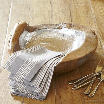 Teak & Aluminum Decorative Bowl