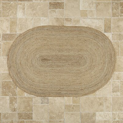 Sarina Hand-Woven Brown Area Rug Rug Size: Oval 6 x 9