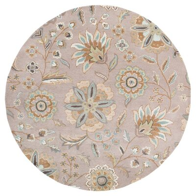 Jasmine Gray Tufted Wool Area Rug Rug Size: Round 6