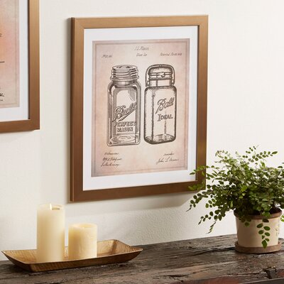 Ball Jar Framed Blueprint