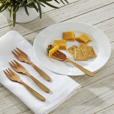 Birch Lane Teak 4-Piece Cocktail Fork Set