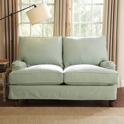 Montgomery Slipcovered Loveseat Upholstery: Godiva Prussian