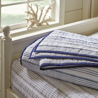 Dillon Striped Quilt Size: King, Color: Navy