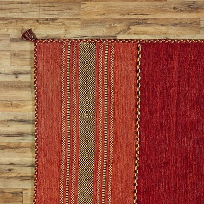 Fogarty Hand-Woven Red Area Rug Rug Size: Runner 26 x 8