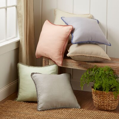Armelle Linen Pillow Cover Size: 18 x 18, Color: Olive