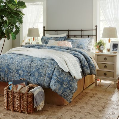 Sandrine Blue Duvet Set Size: Full/Queen