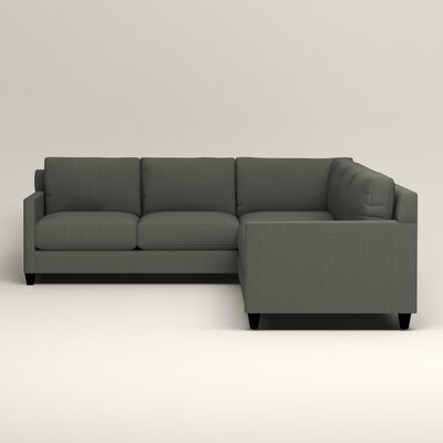 Kerry L-Shaped Sectional Upholstery: Bailey Lagoon Blended Linen, Orientation: Right Facing