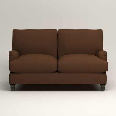 Montgomery Upholstered Loveseat Upholstery: Microsuede Chocolate