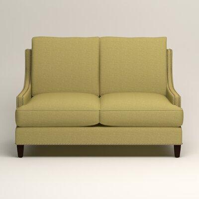 Larson Nailhead Trim Loveseat Upholstery: Bailey Avocado Blended Linen