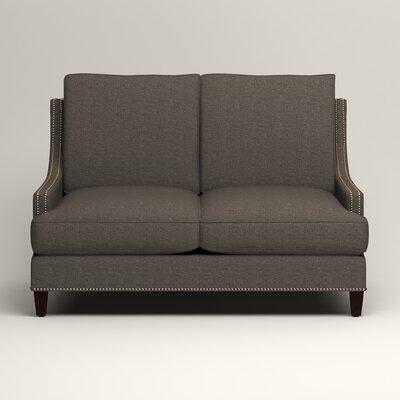 Larson Nailhead Trim Loveseat Upholstery: Bailey Charcoal Blended Linen