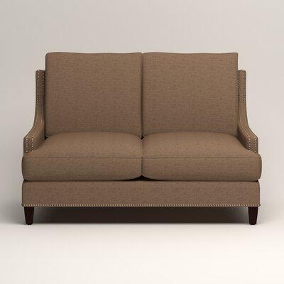 Larson Nailhead Trim Loveseat Upholstery: Bailey Mushroom Blended Linen