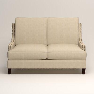 Larson Nailhead Trim Loveseat Upholstery: Bryant Oatmeal Textured Slub