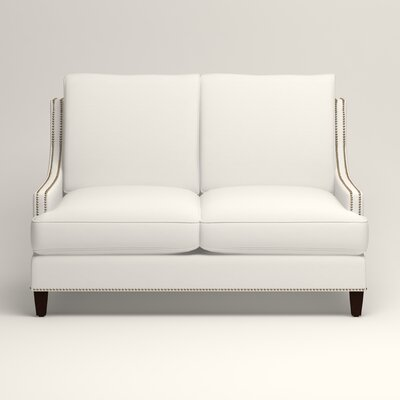 Larson Nailhead Trim Loveseat Upholstery: Truman Cloud White Twill