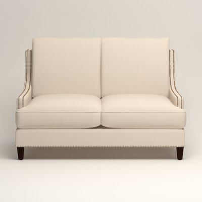 Larson Nailhead Trim Loveseat Upholstery: Microsuede Oyster