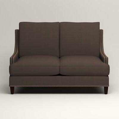 Larson Nailhead Trim Loveseat Upholstery: Microsuede Charcoal