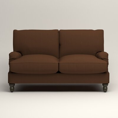 Montgomery Slipcovered Loveseat Upholstery: Microsuede Chocolate