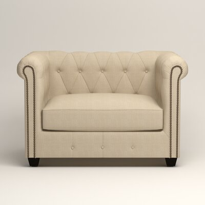 Hawthorn Chesterfield Chair Upholstery: Hilo Flax