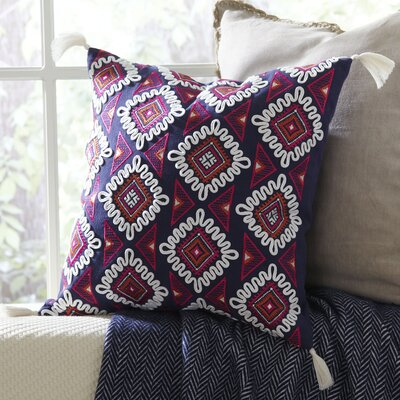 Evette Embroidered Cotton Throw Pillow