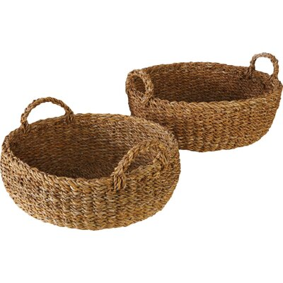 Birch Lane Seagrass Shallow Baskets with Handles
