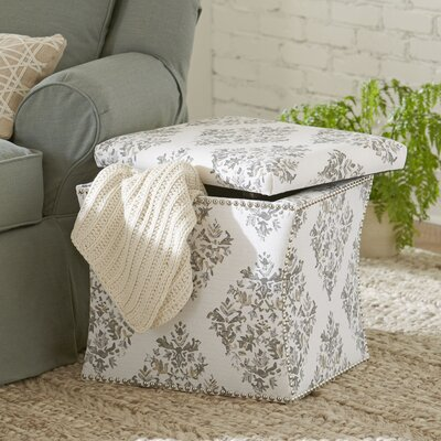Page Nailhead Trim Storage Ottoman Trim: Pewter Nailhead, Upholstery: Holmes Navy Plaid