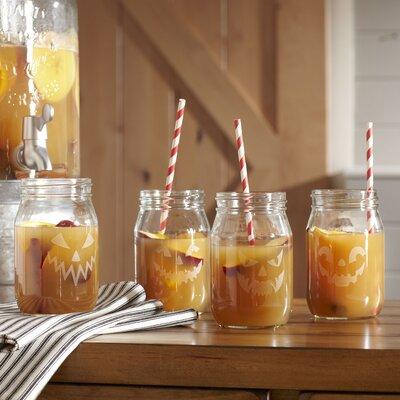 Jack-o'-Lantern Drinking Jars